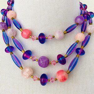 Vintage 1950s 1960s Purple Bead Necklace